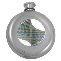 Curve Yellow Blue Round Hip Flask (5 Oz)
