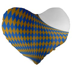 Curve Yellow Blue Large 19  Premium Heart Shape Cushions