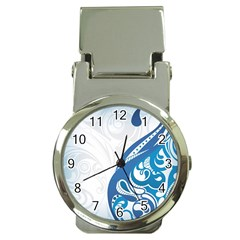 Delicate Flower Blue Money Clip Watches