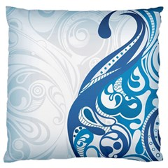 Delicate Flower Blue Large Flano Cushion Case (one Side)