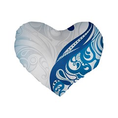 Delicate Flower Blue Standard 16  Premium Flano Heart Shape Cushions