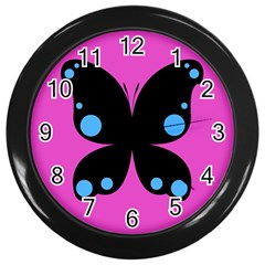 First Butterfly Pink Wall Clocks (black) by Jojostore