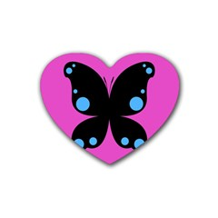 First Butterfly Pink Rubber Coaster (heart)