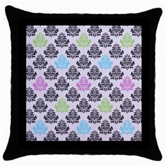 Damask Small Flower Purple Green Blue Black Floral Throw Pillow Case (black)