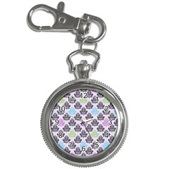 Damask Small Flower Purple Green Blue Black Floral Key Chain Watches