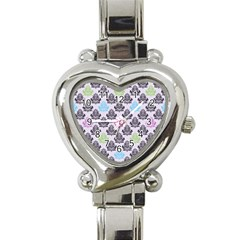 Damask Small Flower Purple Green Blue Black Floral Heart Italian Charm Watch by Jojostore