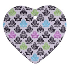 Damask Small Flower Purple Green Blue Black Floral Heart Ornament (2 Sides) by Jojostore