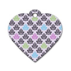 Damask Small Flower Purple Green Blue Black Floral Dog Tag Heart (two Sides) by Jojostore