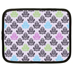 Damask Small Flower Purple Green Blue Black Floral Netbook Case (xxl)