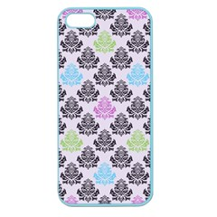 Damask Small Flower Purple Green Blue Black Floral Apple Seamless Iphone 5 Case (color) by Jojostore