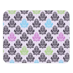 Damask Small Flower Purple Green Blue Black Floral Double Sided Flano Blanket (large)