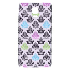 Damask Small Flower Purple Green Blue Black Floral Galaxy Note 4 Back Case by Jojostore