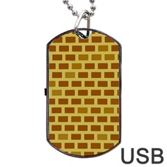 Tessellated Rectangles Lined Up As Bricks Dog Tag Usb Flash (two Sides)