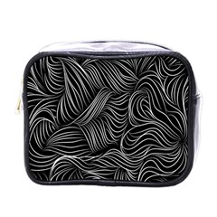 Flower Black Line Mini Toiletries Bags