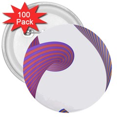 Tortuous 3  Buttons (100 Pack)