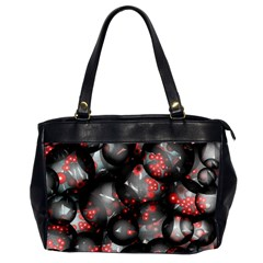 Black And Gray Texture With Bright Red Beads Office Handbags (2 Sides)  by Jojostore