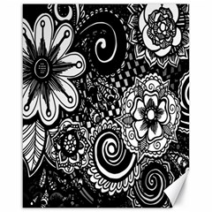 Black White Flower Canvas 16  X 20