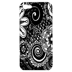 Black White Flower Apple Iphone 5 Hardshell Case by Jojostore