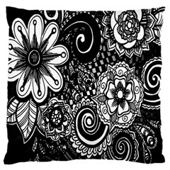 Black White Flower Large Flano Cushion Case (one Side) by Jojostore