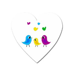 Bird Family Heart Magnet by Valentinaart