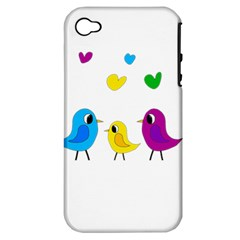 Bird Family Apple Iphone 4/4s Hardshell Case (pc+silicone) by Valentinaart