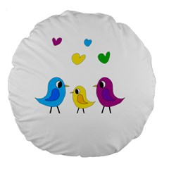 Bird Family Large 18  Premium Round Cushions by Valentinaart