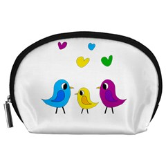 Bird Family Accessory Pouches (large)  by Valentinaart