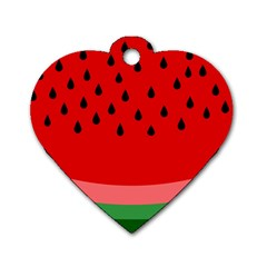 Watermelon  Dog Tag Heart (one Side) by Valentinaart