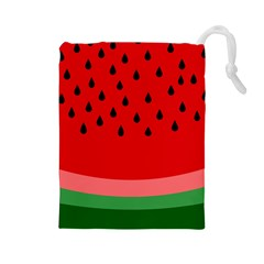 Watermelon  Drawstring Pouches (large)  by Valentinaart
