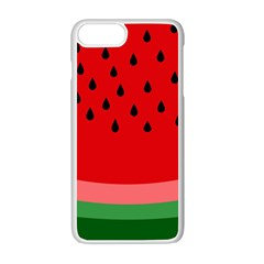 Watermelon  Apple Iphone 7 Plus White Seamless Case by Valentinaart