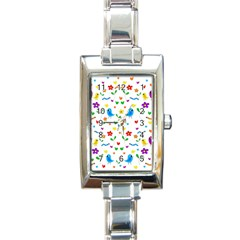 Cute Birds And Flowers Pattern Rectangle Italian Charm Watch by Valentinaart