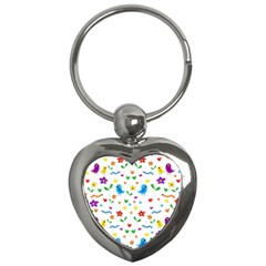 Cute Birds And Flowers Pattern Key Chains (heart)