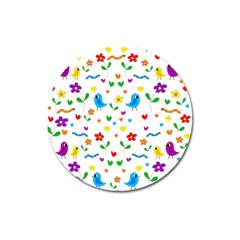 Cute Birds And Flowers Pattern Magnet 3  (round)