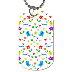 Cute Birds And Flowers Pattern Dog Tag (two Sides) by Valentinaart