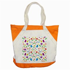 Cute Birds And Flowers Pattern Accent Tote Bag by Valentinaart