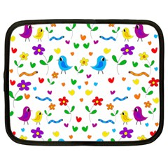 Cute Birds And Flowers Pattern Netbook Case (large) by Valentinaart