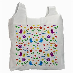 Cute Birds And Flowers Pattern Recycle Bag (two Side)