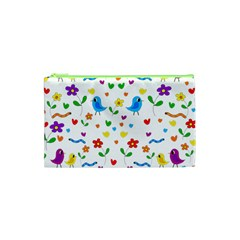 Cute Birds And Flowers Pattern Cosmetic Bag (xs) by Valentinaart