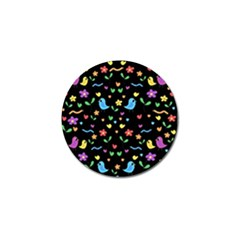Cute Birds And Flowers Pattern   Black Golf Ball Marker (4 Pack)