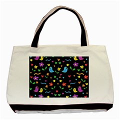Cute Birds And Flowers Pattern   Black Basic Tote Bag by Valentinaart
