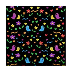 Cute Birds And Flowers Pattern   Black Face Towel by Valentinaart