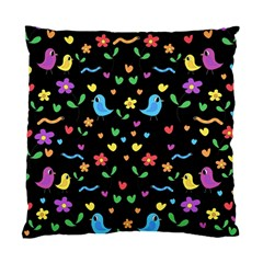 Cute Birds And Flowers Pattern   Black Standard Cushion Case (two Sides) by Valentinaart
