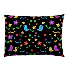 Cute Birds And Flowers Pattern   Black Pillow Case by Valentinaart