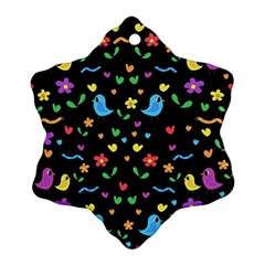 Cute Birds And Flowers Pattern   Black Snowflake Ornament (2 Side) by Valentinaart