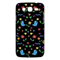 Cute Birds And Flowers Pattern   Black Samsung Galaxy Mega 5 8 I9152 Hardshell Case
