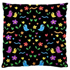 Cute Birds And Flowers Pattern   Black Large Flano Cushion Case (one Side) by Valentinaart