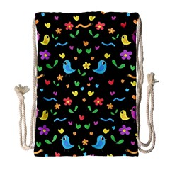 Cute Birds And Flowers Pattern   Black Drawstring Bag (large)