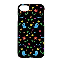 Cute Birds And Flowers Pattern   Black Apple Iphone 7 Hardshell Case by Valentinaart