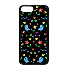 Cute Birds And Flowers Pattern   Black Apple Iphone 7 Plus Seamless Case (black) by Valentinaart