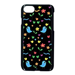 Cute Birds And Flowers Pattern   Black Apple Iphone 7 Seamless Case (black)